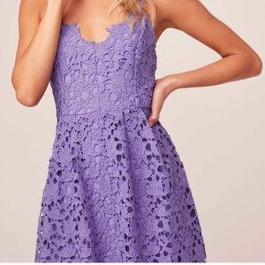 Lace A Line Midi Dress in Purple✨